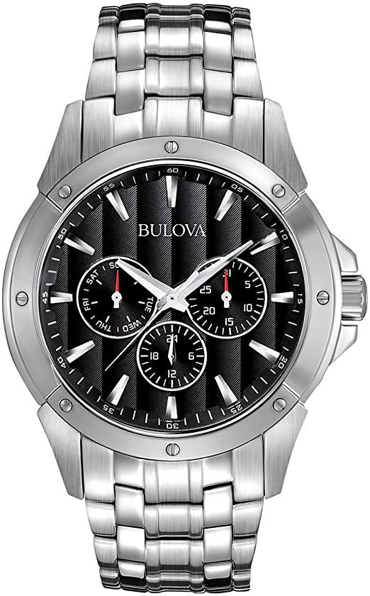 Amazon.com: Bulova Men's 96C107 Black Dial Stainless Steel Watch .