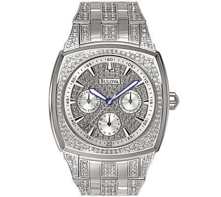 Bulova Men's Crystal Bracelet Watch w/ Pave Dial — QVC.c