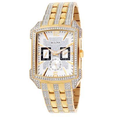 Bulova Men's Rectangular Quartz Stainless Steel Bracelet Watch .