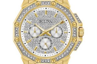 Bulova Men's Crystal Accented Gold-Tone Stainless Steel Bracelet .