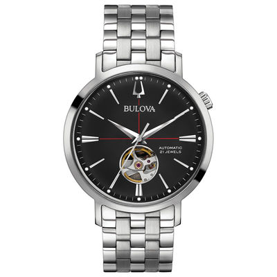 Men's Bulova Automatic Watch with Black Dial (Model: 96A199 .