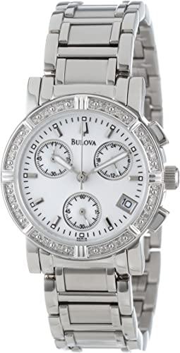 Amazon.com: Bulova Women's 96R19 Diamond-Studded Chronograph Watch .