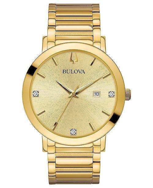 Bulova Men's Futuro Diamond Dress Diamond-Accent Gold-Tone .