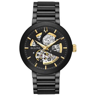 Men's Bulova Modern Automatic Black IP Watch with Skeleton Dial .