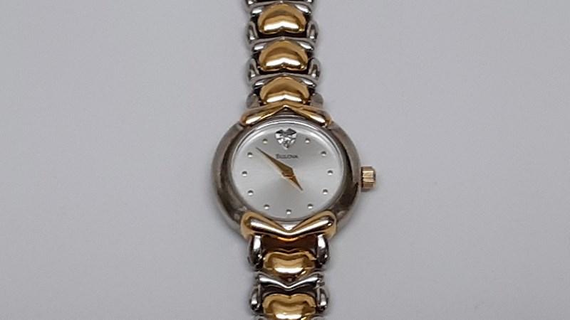 Bulova Women's Watch Two-tone Heart w/ Diamond - shopgoodwill.c
