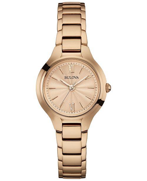 Bulova Women's Rose Gold-Tone Stainless Steel Bracelet Watch .