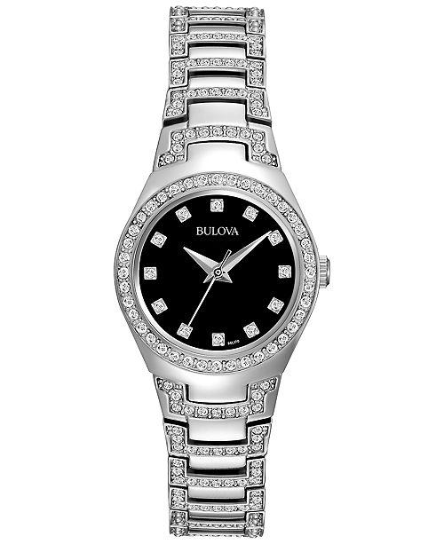 Bulova Women's Crystal Stainless Steel Bracelet Watch 25mm 96L1
