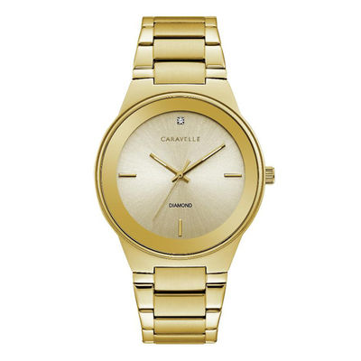 Men's Caravelle by Bulova Diamond Accent Gold-Tone Watch with .