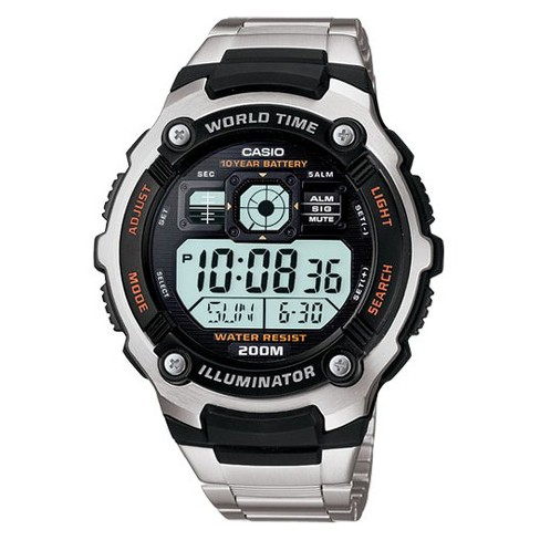 Casio Men's 10 Year Battery Stainless Steel Digital Watch - Silver .