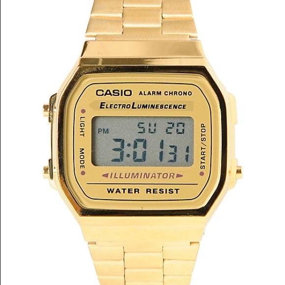 Casio Accessories | Retro Digital Watch In Gold | Poshma