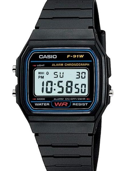 Casio Men's Classic Black Digital Resin Strap Watch #F-91W
