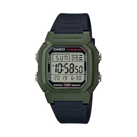 Casio - Casio Men's Dual Time Digital Watch, Green/Black - W-800HM .