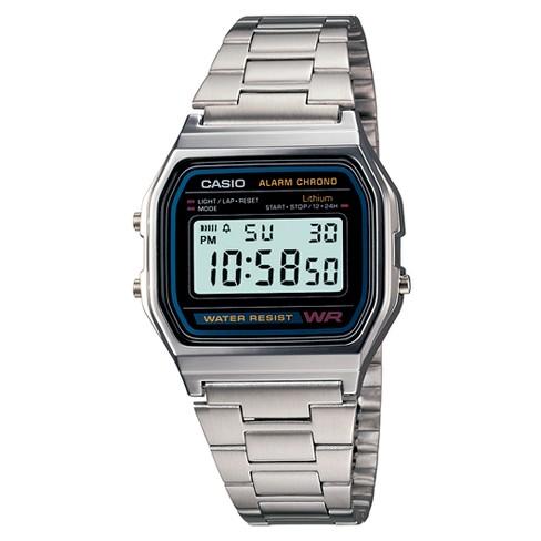 Men's Casio Digital Bracelet Watch - Silver (A158W-1) : Targ