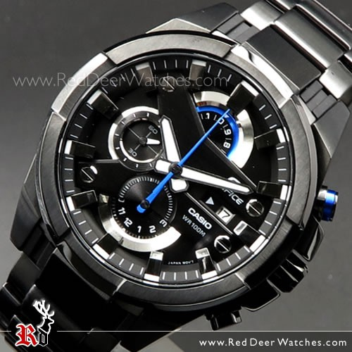 BUY Casio Edifice Chronograph 100M All Black Sport Watch EFR-540BK .