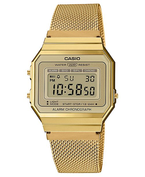 Casio Unisex Gold-Tone Stainless Steel Mesh Bracelet Watch 35.5mm .