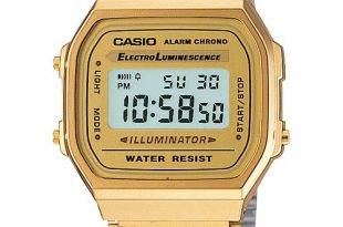 Casio Men's Digital Vintage Gold-Tone Stainless Steel Bracelet .