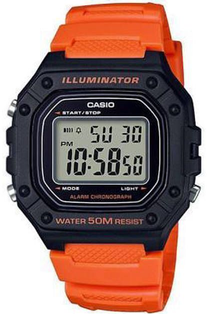 Men's Casio Illuminator Orange Digital Sports Chronograph Watch .