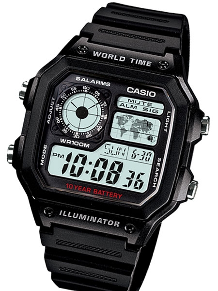 Casio Black Resin Illuminator World Timel Alarm Watch with 31 Time .