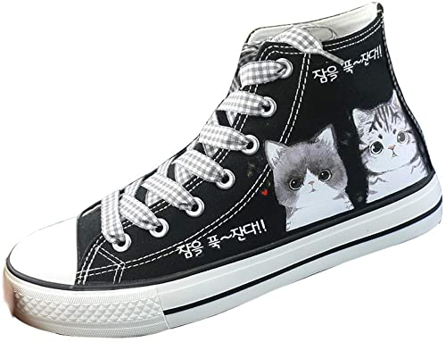 Amazon.com | Frelo Girls Cat Shoes Canvas Sneaker High Top Lace Up .