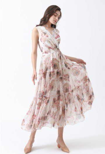 Easy and Breezy Watercolor Chiffon Maxi Dress - Retro, Indie and .