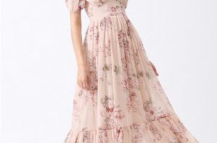 Enchanting Peony Chiffon Maxi Dress - Retro, Indie and Unique Fashi