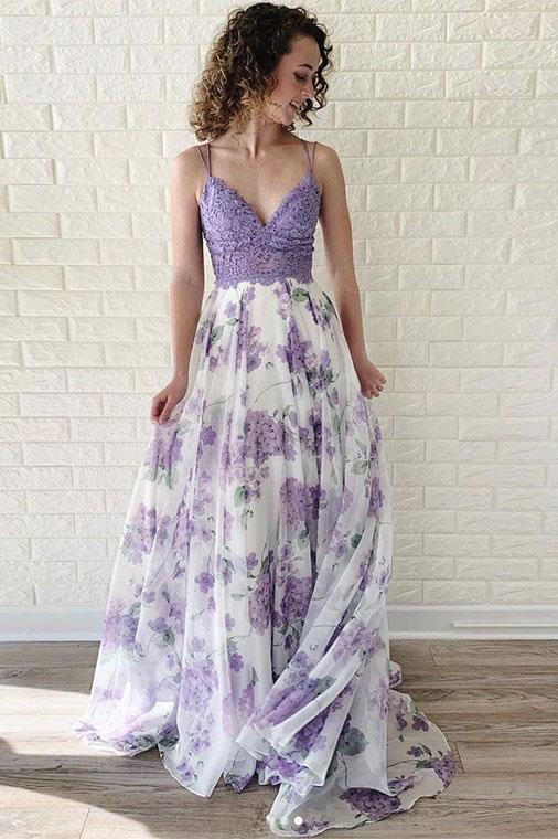 Lavender Spaghetti Straps V Neck Floral Chiffon Prom Dress with .