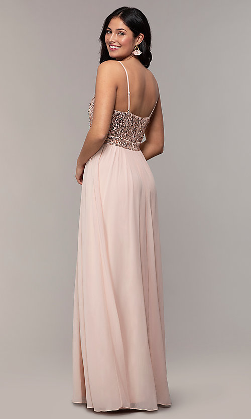 Long Chiffon V-Neck Prom Dress with Sequin Bodi