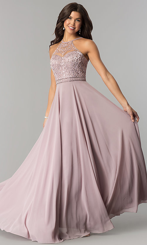 Long Formal Chiffon Prom Dress with Embroide