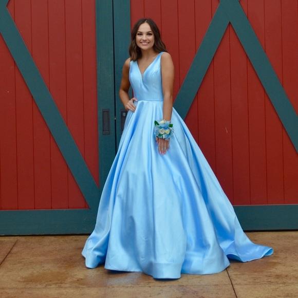 Sherri Hill Dresses   Baby Blue Cinderella Prom Dress   Poshma