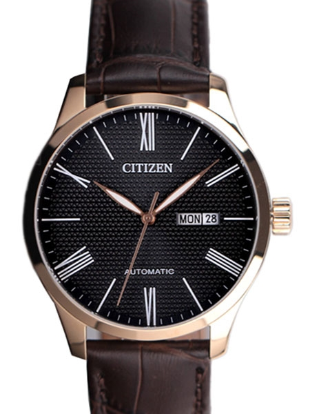 Citizen Automatic Watch with Rose Goldtone Case, Black Textured .