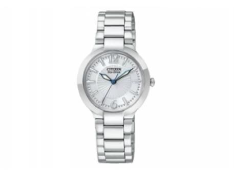 Ladies Eco-Drive with blue hands and white dial and band | Diamond .