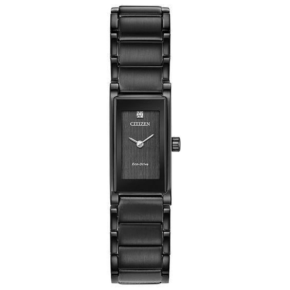 Ladies' Citizen Eco-Drive® Axiom Diamond Accent Black IP Watch .