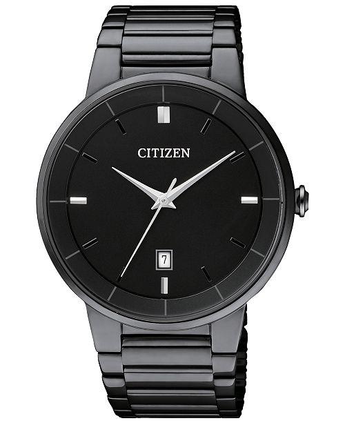 Citizen Men's Quartz Black Ion-Plated Stainless Steel Bracelet .