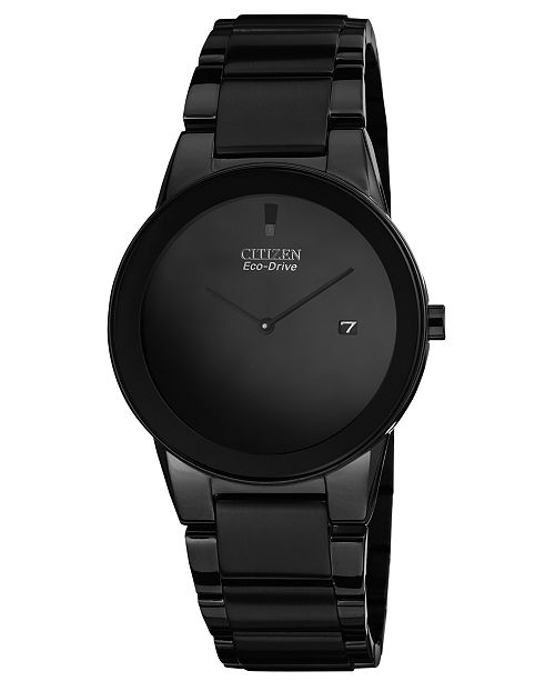 Citizen Men's Eco-Drive Axiom Black Ion-Plated Stainless Steel .