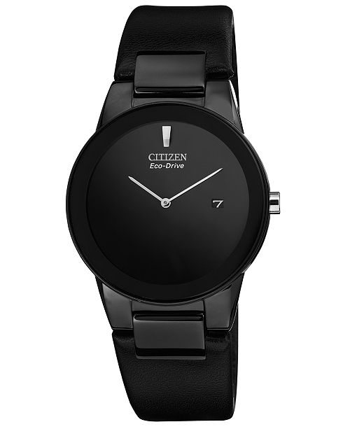 Citizen Men's Eco-Drive Axiom Black Leather Strap Watch 40mm .