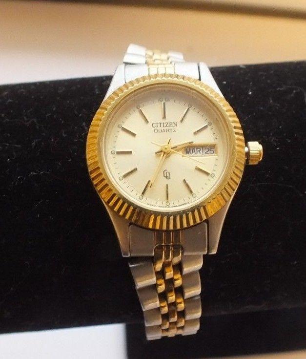 Designer Citizen Gold Silver Stainless Steel Ladies Quartz Watch .