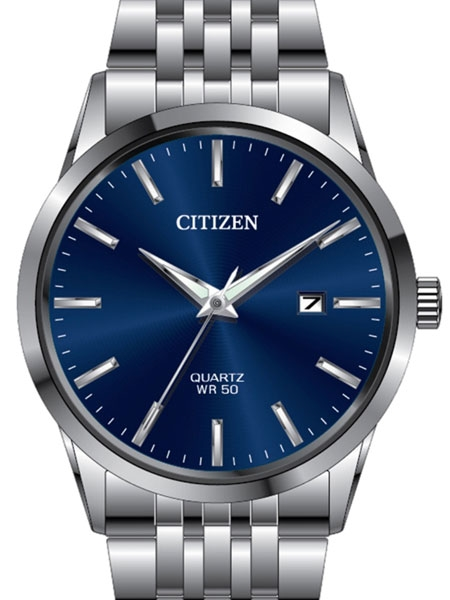Citizen Quartz Watch with Blue Dial and Stainless Steel Bracelet .