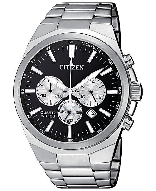 Citizen Men's Chronograph Quartz Stainless Steel Bracelet Watch .