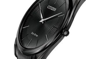 Citizen Eco-Drive Men's Stiletto Black Stainless Steel Bracelet .