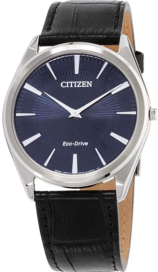 Amazon.com: Men's Citizen Eco-Drive Stiletto Blue Dial Strap Watch .