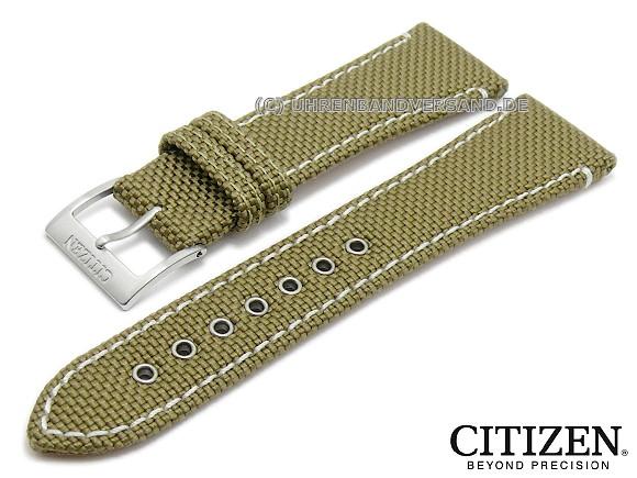 Watch strap original replacement CITIZEN 22mm oliv green textile .