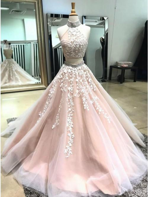 Two Pieces Prom Dresses Classy High Neck Applique Long Prom Dress .