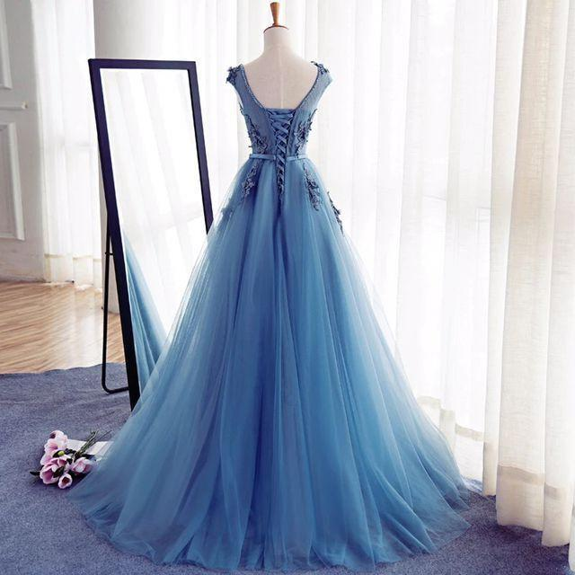 Blue Prom Dress,Modest Prom Dress,Robe De Bal,Formal Dresses,Long .