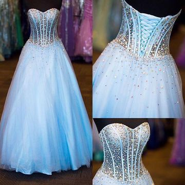 $149.99 Long Elegant Blue Ball Gown Sweetheart Sleeveless Corset .