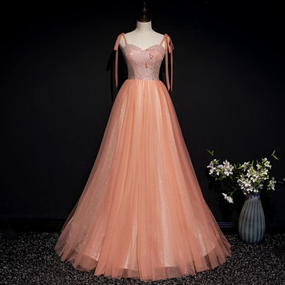 Chic / Beautiful Orange Corset Prom Dresses 2020 A-Line / Princess .