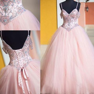 $152.99 Long Elegant Pink Ball Gown Spaghetti Straps Sleeveless .