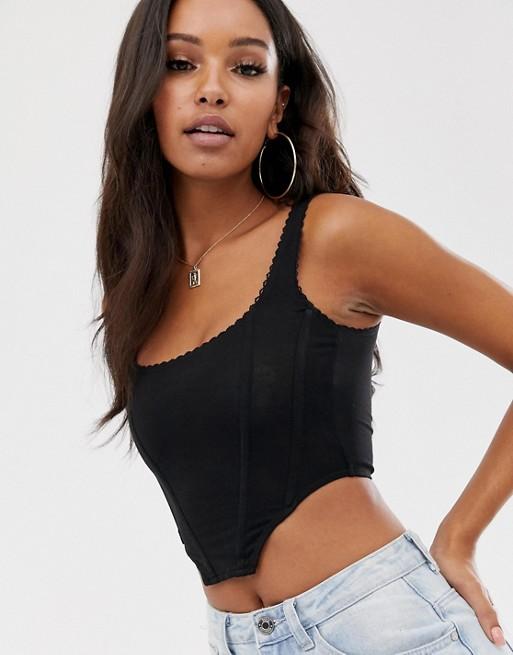 ASOS DESIGN seamed corset top with trim   AS