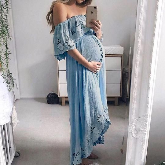 Maternity Casual Lace Off Shoulder Dress | Maternity Photography .