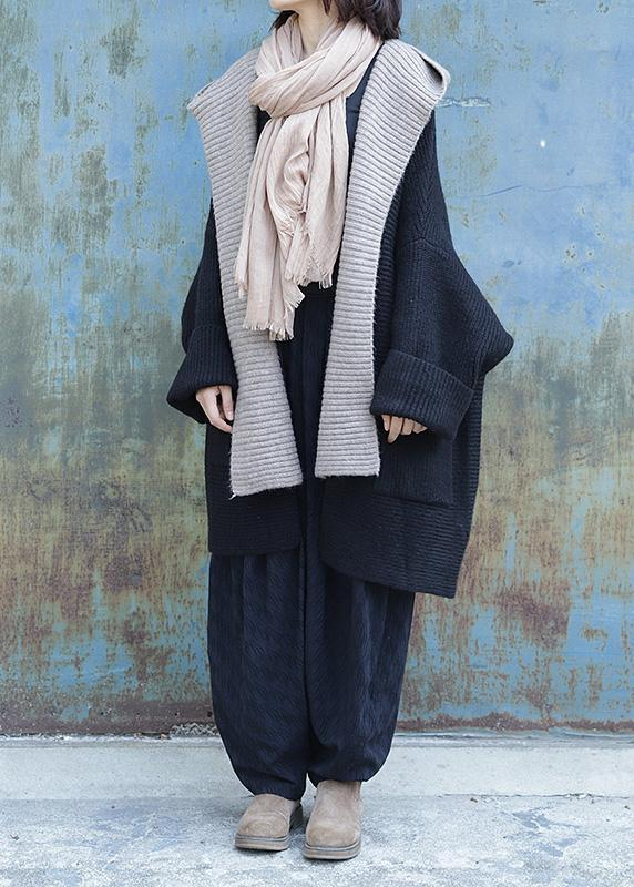 1) Cute black knitted outwear plus size clothing nude hooded knit .
