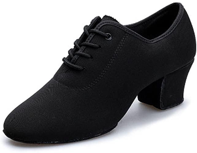 Amazon.com | DLisiting Latin Dance Shoes Womens Black Oxford Cloth .